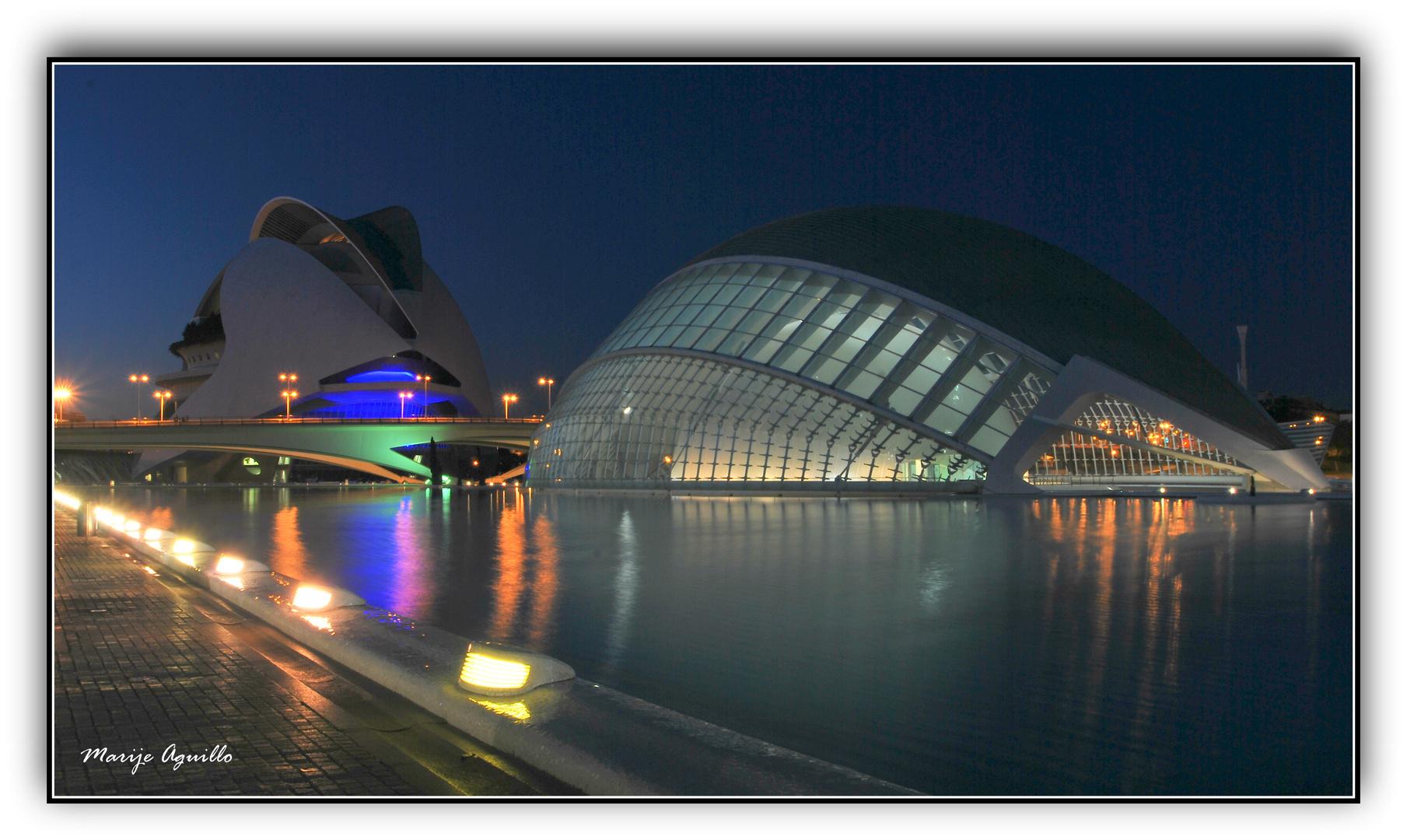 La Ciudad de las ciencias y las Artes de noche