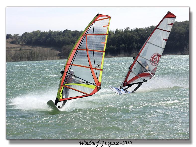 la course en windsurf sur le lac de la Ganguise