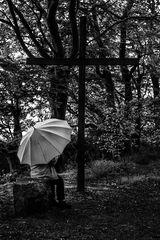La femme au parapluie s'attarde un instant dans la forêt réconfortante (86)