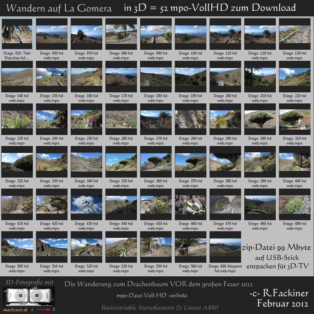 La Gomera in 3D: 52 VollHD-Fotos im mpo-Format zum Download für 3D-TV und 3D-Monitore