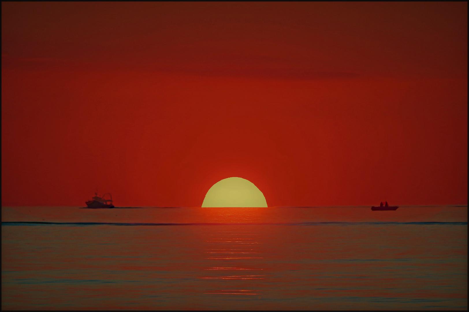 la pêche au coucher du soleil....