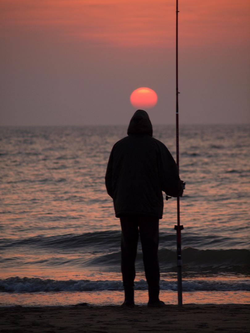 La pêche au soleil couchant