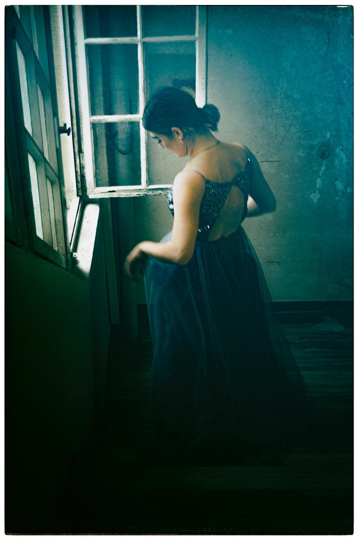 la robe de soirée bleue