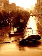 La voiture sous la pluie. (Minsk)