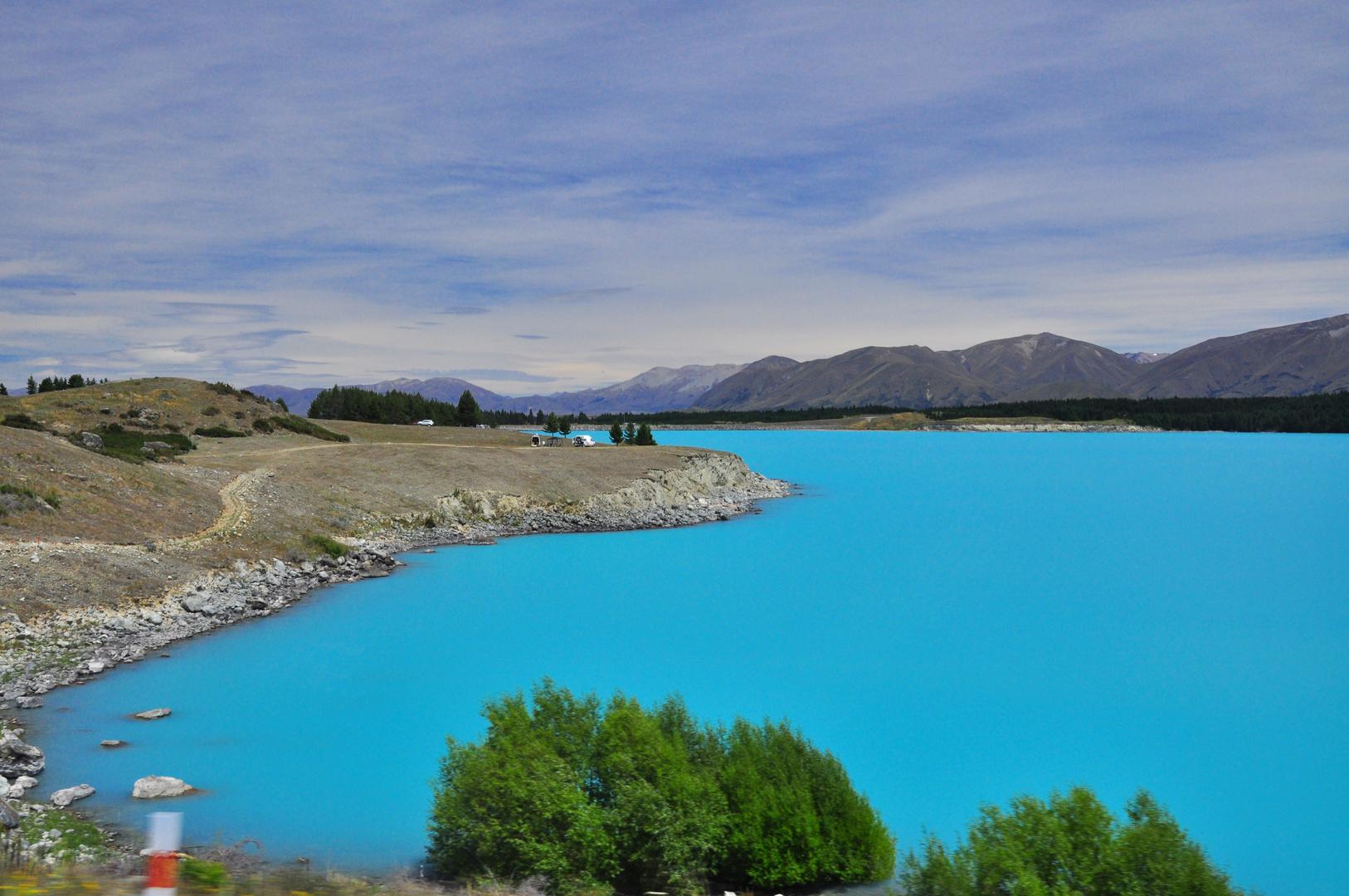 Lake Pukaki aus dem Auto-Dieses unglaubliche Blau!