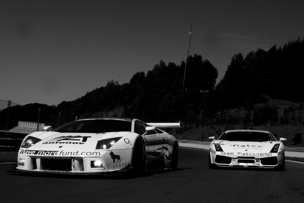 Lamborghini Murcielago GT1 vs. Lamborhini Gallardo GT3 b/w