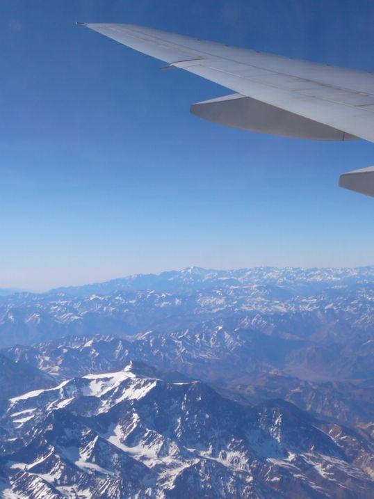Landeanflug über die Anden