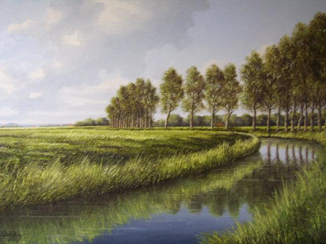 Landschaft bei Jever-Friesland,Öl auf Leinen 50x70cm