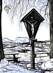 Landschaft in Reit im Winkel in der Federzeichnung