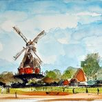 Landschaft mit Mühle in Mecklenburg