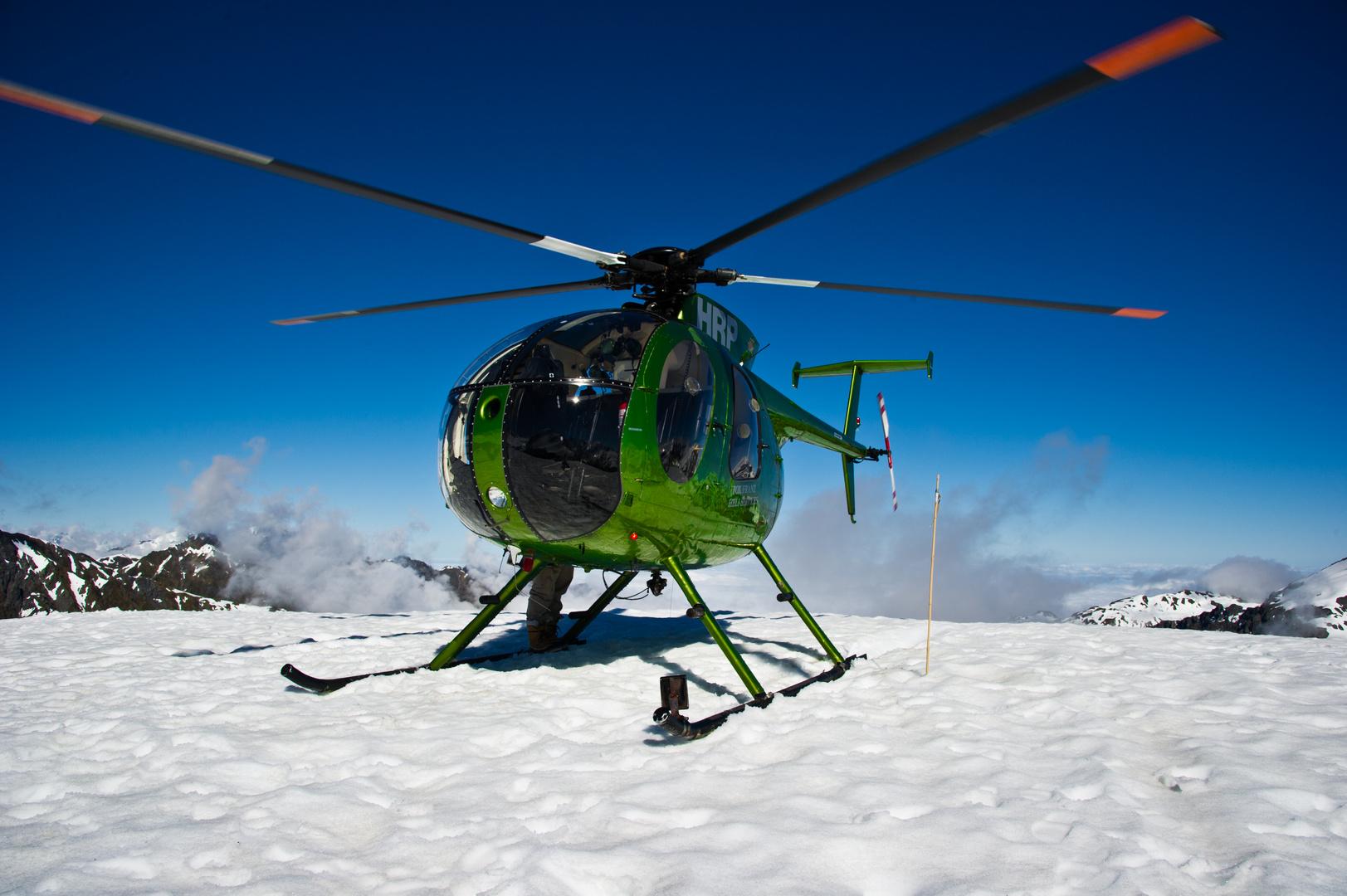 Landung am Rande des Gletscher auf 1794 m