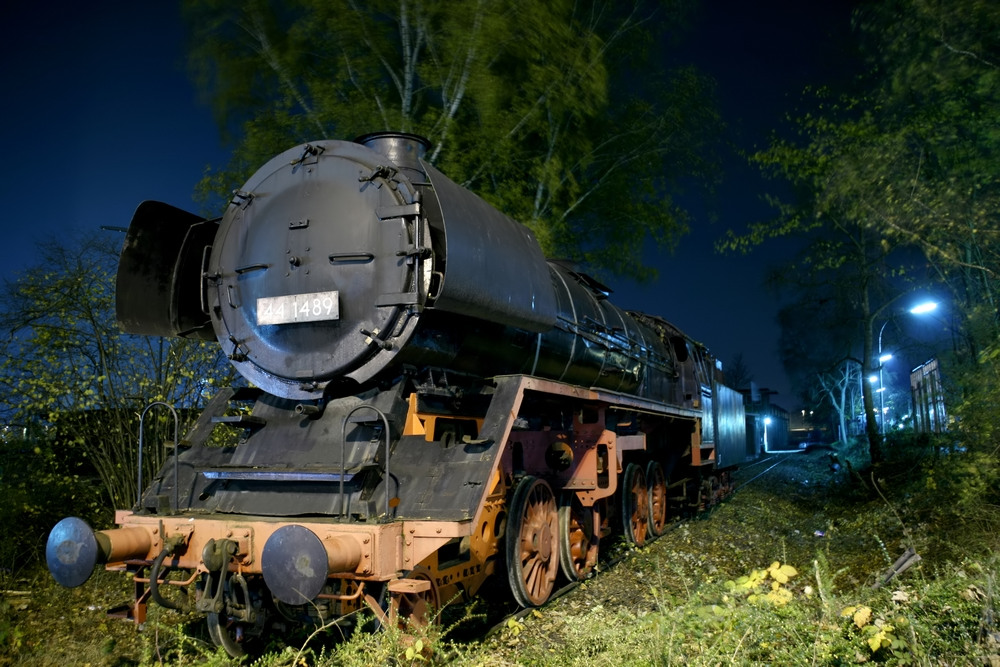 Langzeitbelichtung Lokomotive
