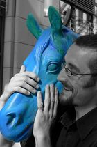 laughing blue horse