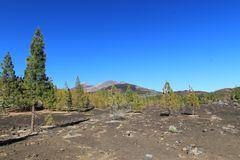 Lavafeld vor dem Vulkan