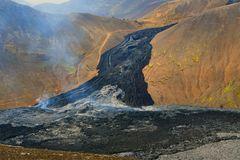Lavastrom vom Vulkanausbruch am Fagradalsfjall