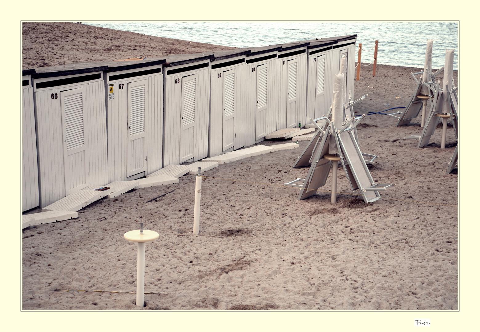 le cabine sulla spiaggia
