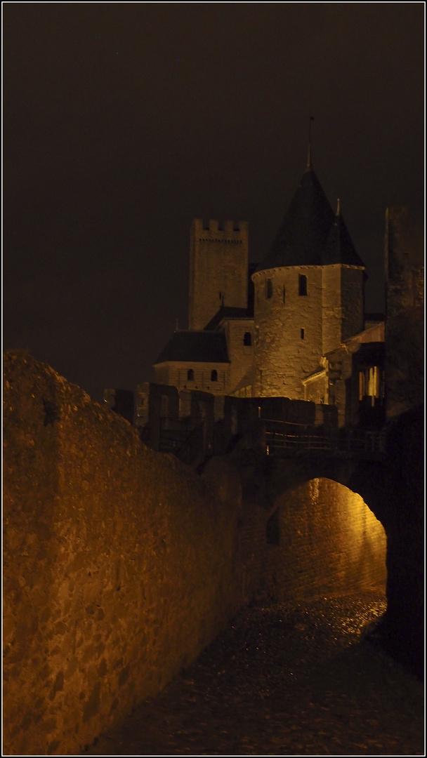 Le chateau de la cité de Carcassonne de nuit