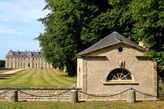 """"""" Le Château de Saint Pierre Eglise """" Vu du pavillon d'entrée droite."""