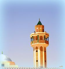 Le minaret d'une mosqué à Tozeur