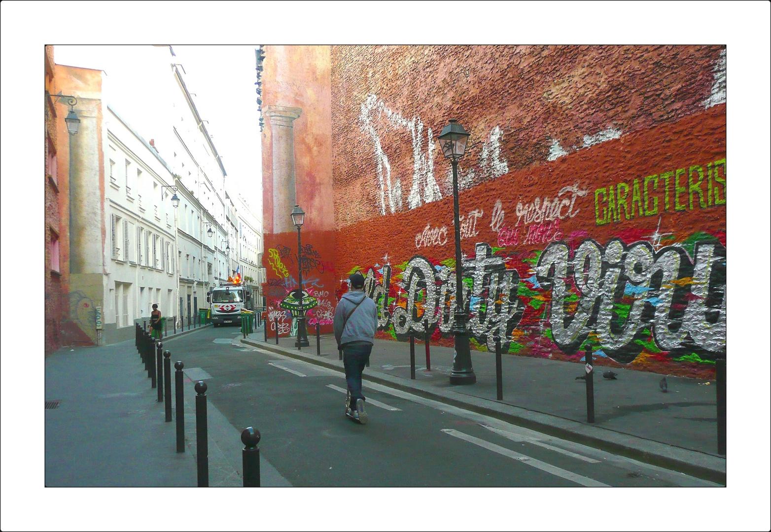 le mur rouge ses tags ses trompe l 39 oeil photo et image. Black Bedroom Furniture Sets. Home Design Ideas