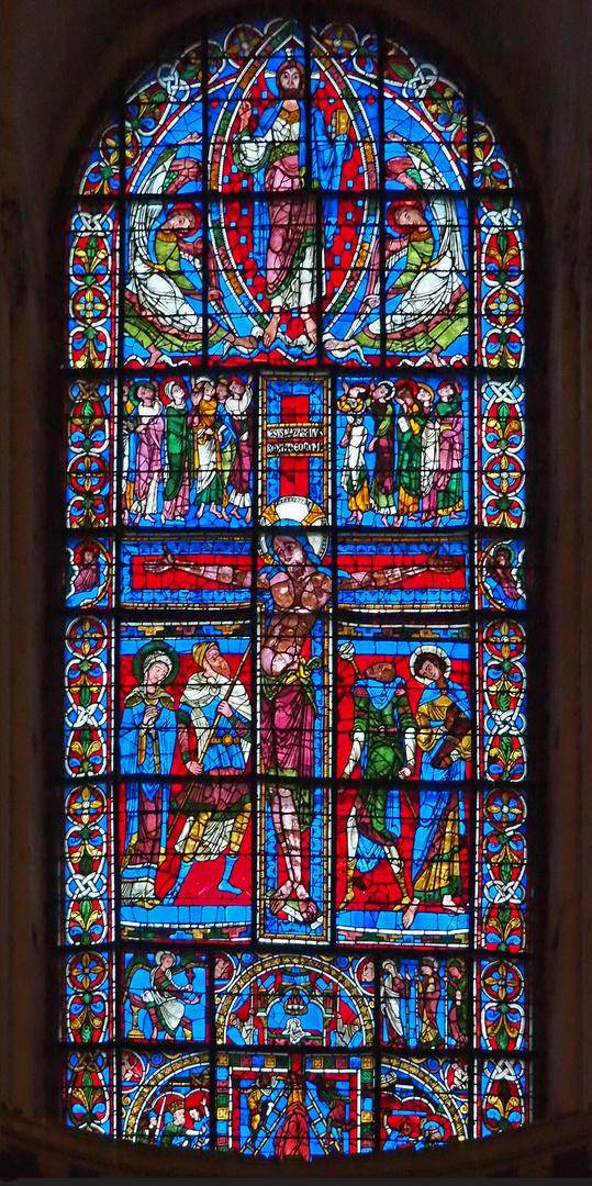 Le vitrail de la Crucifixion (XIIème)