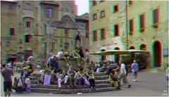 Leben auf der Piazza della Cisterna...(3D-Anaglyphe+Kreuzblick-Link)