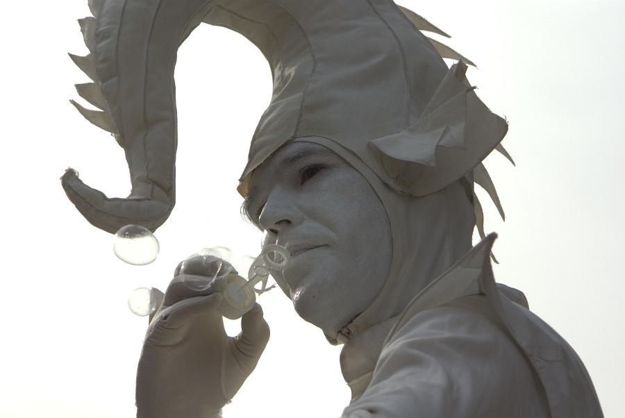 Lebende Statue mit Seifenblasen