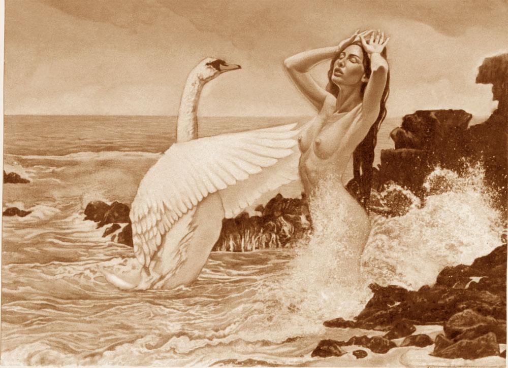 Leda y el cisne(versión en sepia)