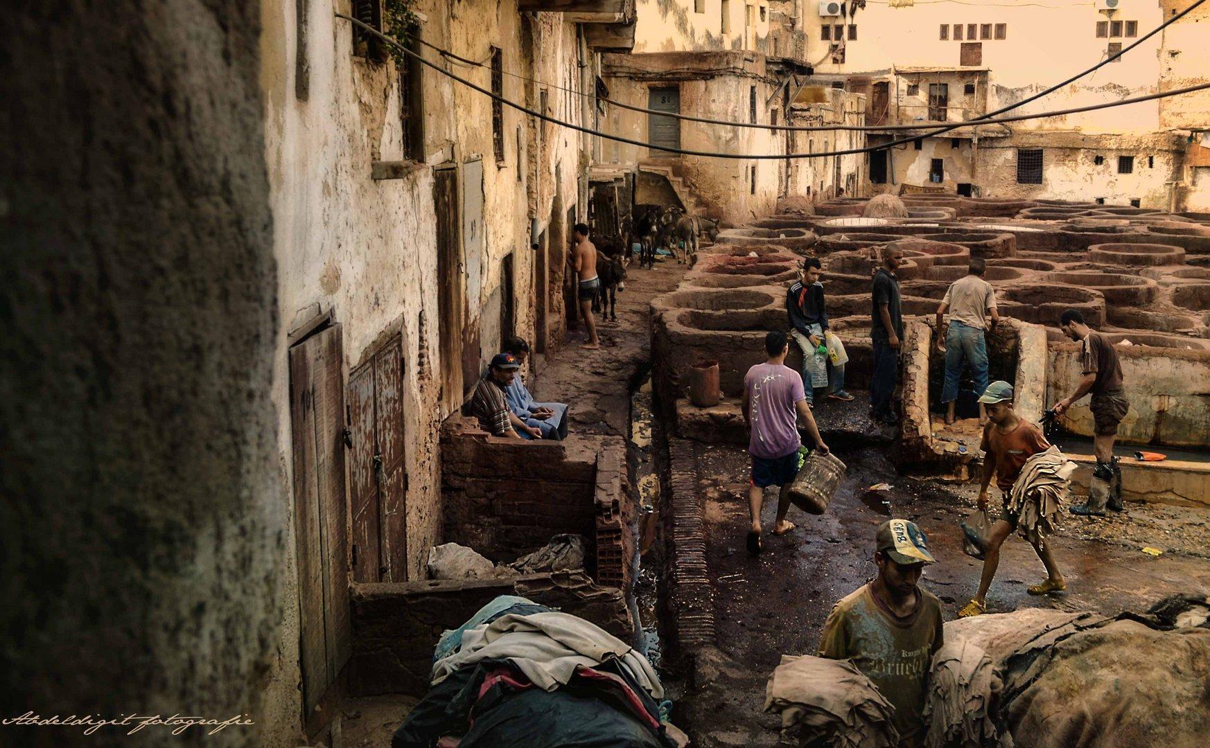 Leder verarbeitung ,Fes Marokko