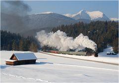 Leerreisezug des Winter-Express von Klais nach Mittenwald...