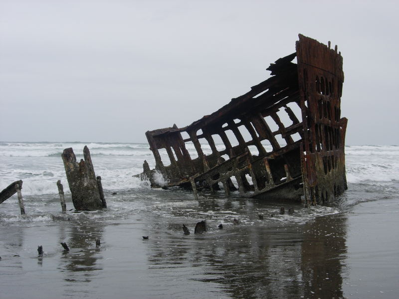 """leftovers of the wreck of the """"Peter Iredale"""""""