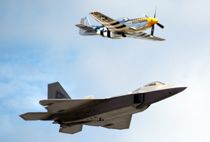 Legacy Flight by a North American P-51 D Mustang & Lockeed F-22 Raptor