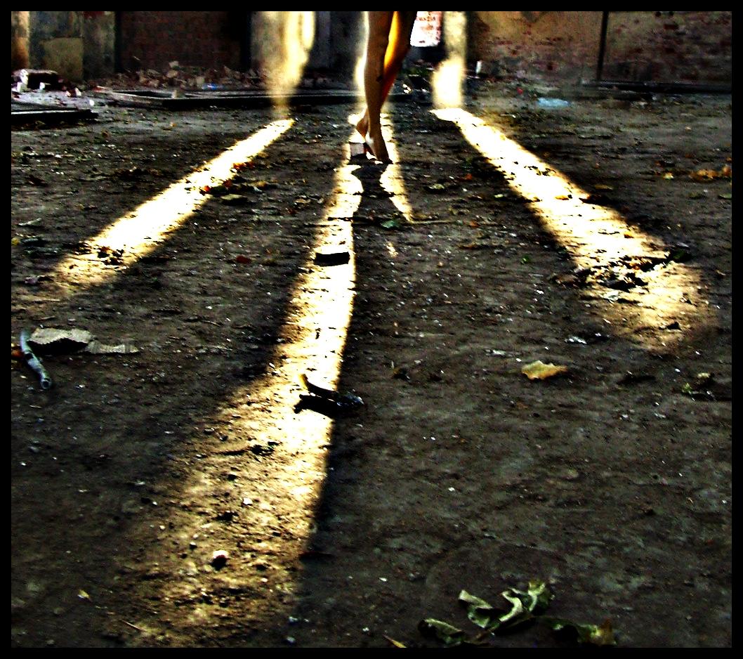 Legs in an empty space