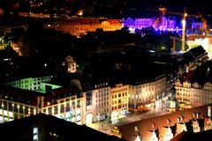 Leipzig am Abend von oben
