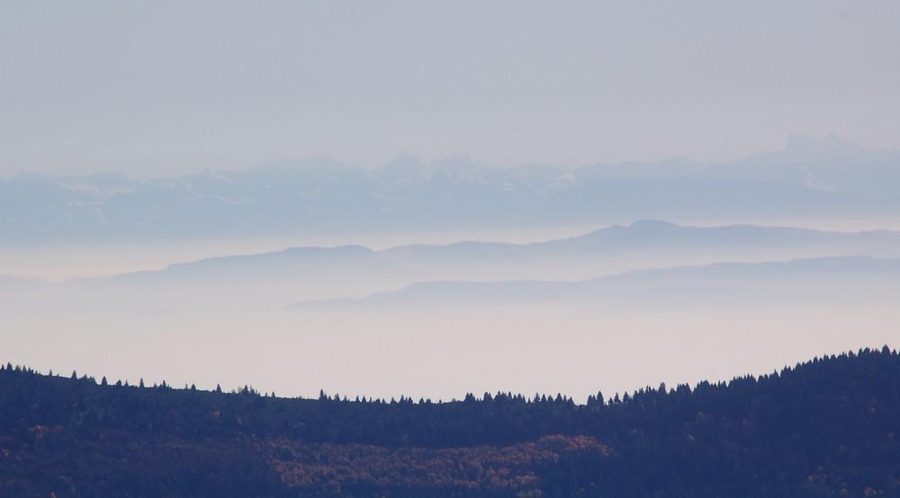 les alpes vue du honeck(vosges)