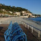 les chaises bleues de la promenade des anglais à NIce