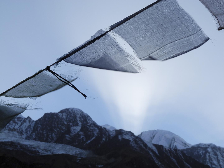Letzte Sonnenststrahlen an der Annapurna Range