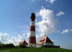 Leuchtturm Westerhever mit Wolken