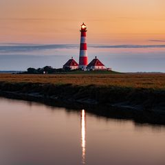 Leuchtturm Westerhever nach Sonnenuntergang