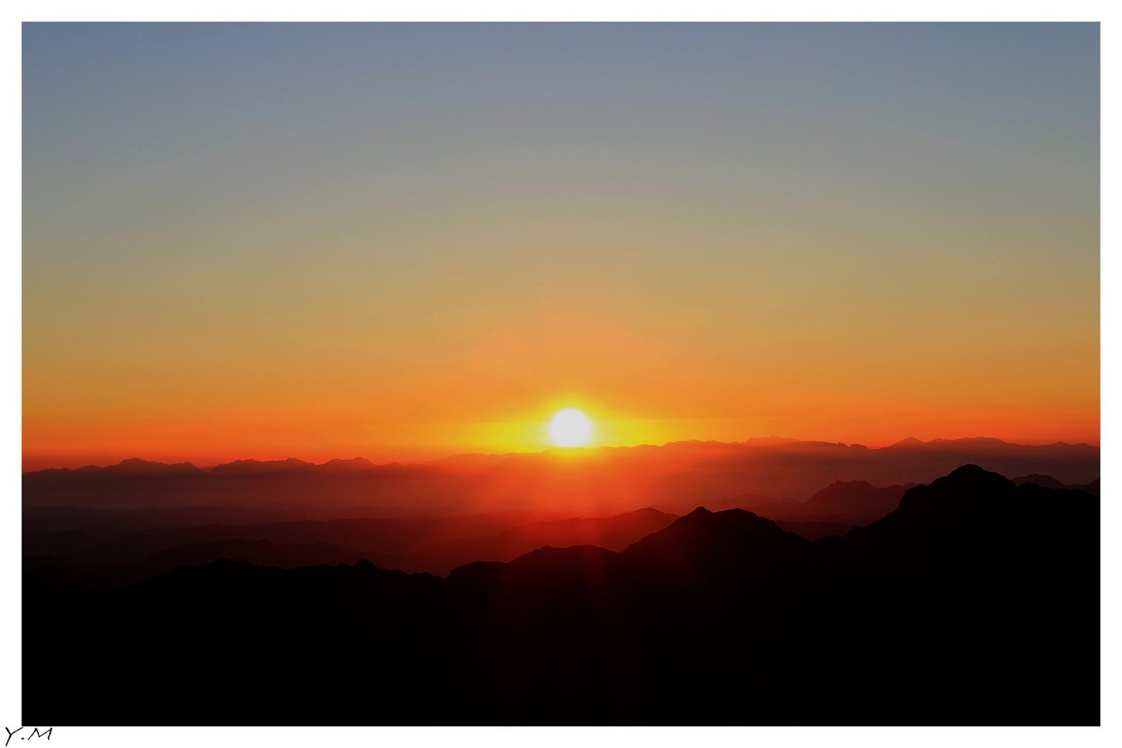 Lever de soleil sur le mont Moïse.
