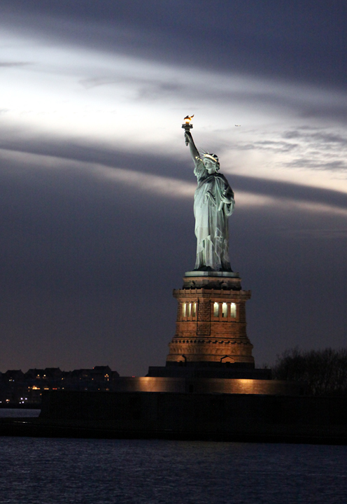 liberty in sunset