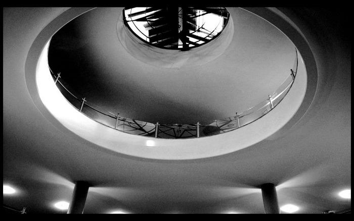 Licht, Säulen, Stockwerke, Reha-Klinik, Herzogenaurach 2004
