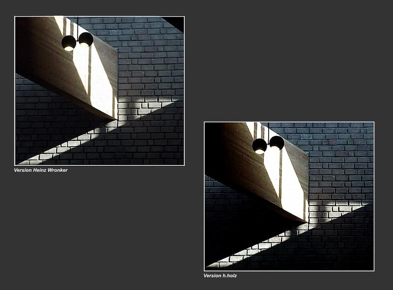 Lichtblick in der Kirche. 2 verschiedene Versionen