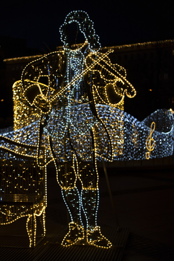 Lichtinstallation zur Weihnacht in Magdeburg