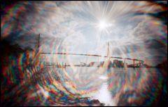 Lichtspiel unter der Köhlbrandbrücke