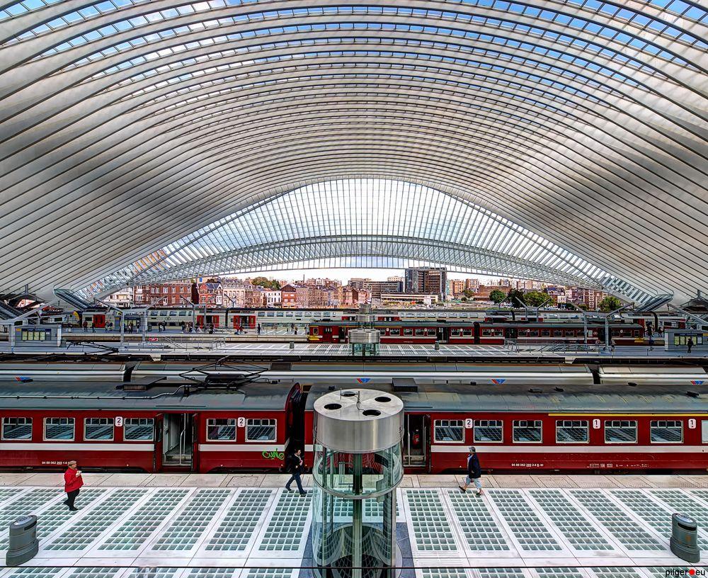 Liège-Guillemins - Bahnhof zwischen den Papierkörben