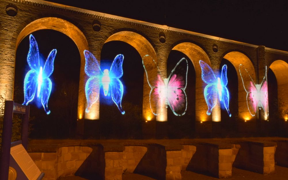 Lighpainting und Lichtmalerei am Viadukt Altenbeken