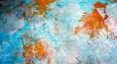 light blue & rust brown