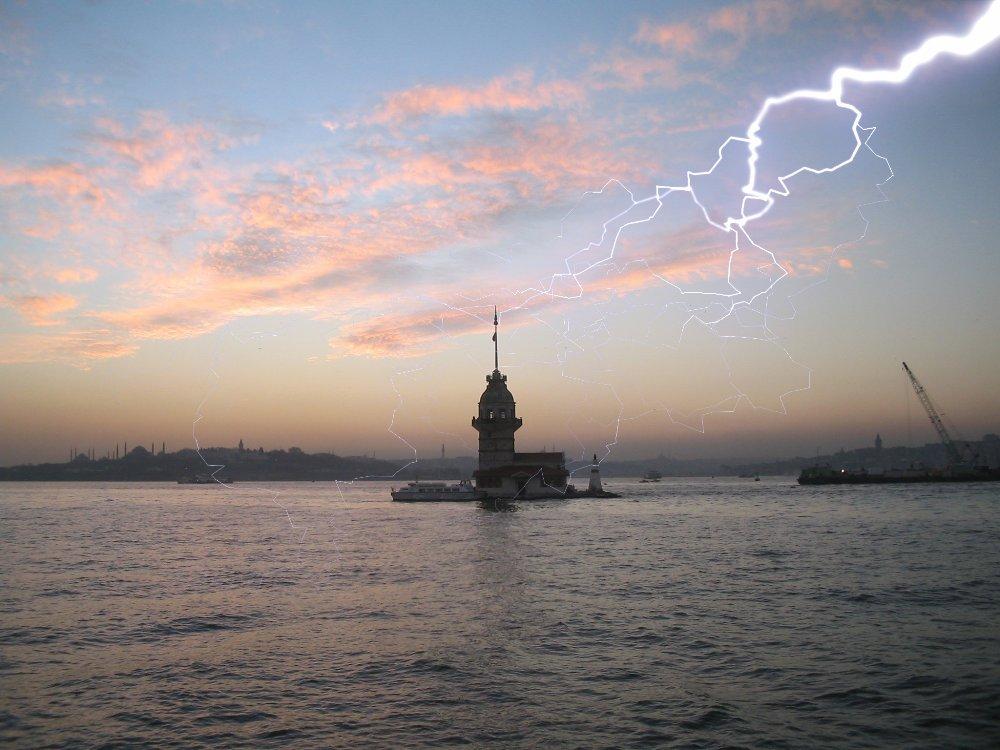 lightning beneath sunset
