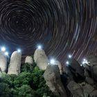 Lights in Montserrat mountain Park. Circumpolar.